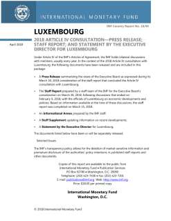 2018 Article Iv Consultation—Press Release; Staff Report; And Statement By The Executive Director For Luxembourg April 2018