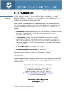 Luxembourg: 2019 Article IV Consultation-Press Release; Staff Report; and Statement by the Executive Director for Luxembourg; IMF Country Report No. 19/130; April 22, 2019