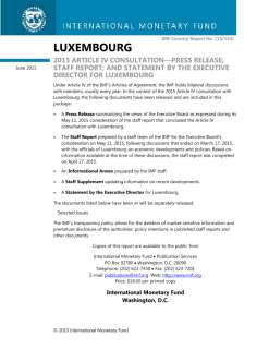 Luxembourg: 2015 Article IV Consultation--Press Release; Staff Report; and Statement by the  Executive Director for Luxembourg; IMF Country Report 15/144; April 27, 2015