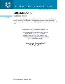 Luxembourg: Selected Issues; IMF Country Report 15/145; April 27, 2015